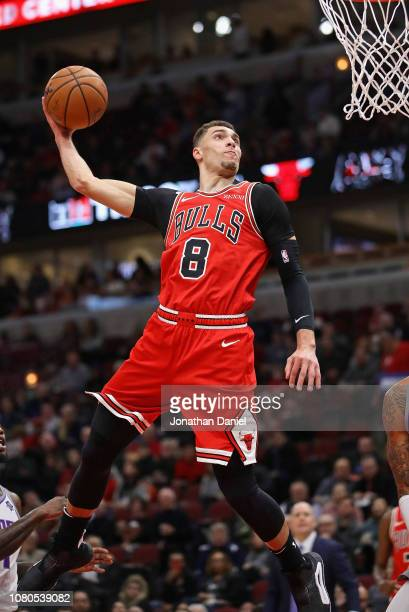 Zach LaVine of the Chicago Bulls goes up for a dunk against the Sacramento Kings at the United Center on December 10 2018 in Chicago Illinois NOTE TO...