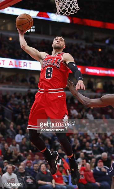 Zach LaVine of the Chicago Bulls goes up for a dunk against the Washington Wizards at the United Center on January 15 2020 in Chicago Illinois NOTE...