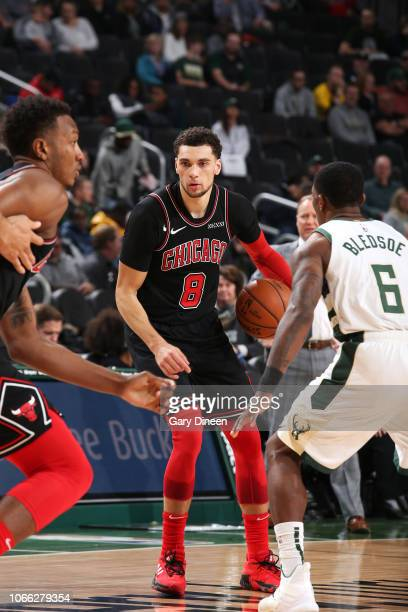 Zach LaVine of the Chicago Bulls handles the ball against the Milwaukee Bucks on November 28 2018 at the United Center in Chicago Illinois NOTE TO...