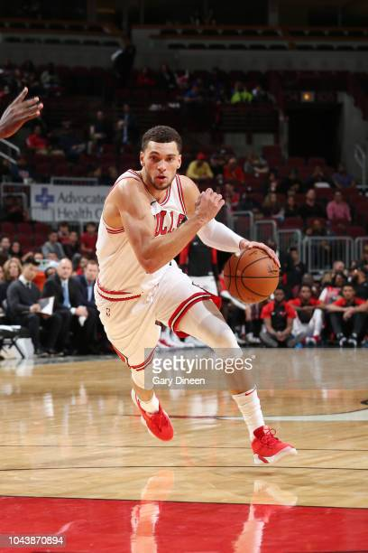 Zach LaVine of the Chicago Bulls handles the ball against the New Orleans Pelicans during a preseason game on September 30 2018 at the United Center...