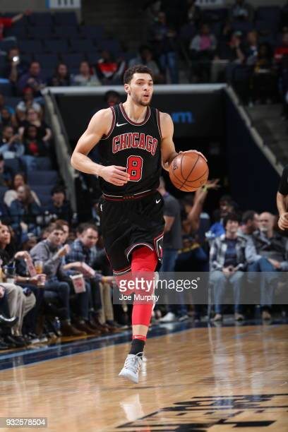 Zach LaVine of the Chicago Bulls handles the ball during the game against the Memphis Grizzlies on March 15 2018 at FedExForum in Memphis Tennessee...