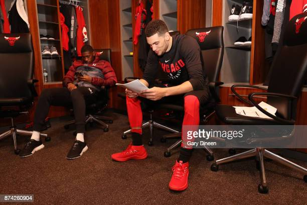 Zach LaVine of the Chicago Bulls is seen before the game against the Indiana Pacers on November 10 2017 at the United Center in Chicago Illinois NOTE...