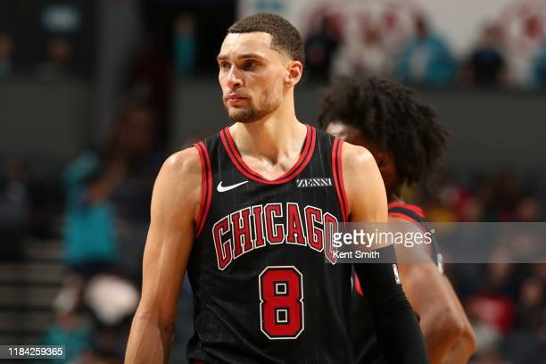 Zach LaVine of the Chicago Bulls looks on against the Charlotte Hornets on November 23 2019 at Spectrum Center in Charlotte North Carolina NOTE TO...