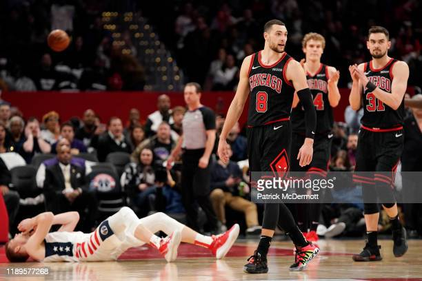 Zach LaVine of the Chicago Bulls reacts after being fouled by Davis Bertans of the Washington Wizards on a three point attempt in the second half at...