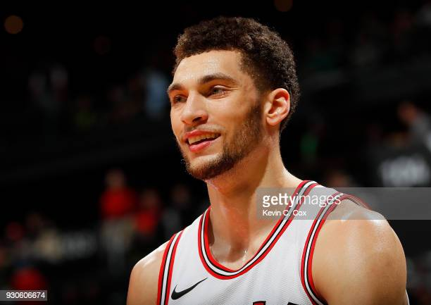 Zach LaVine of the Chicago Bulls reacts at the end of the first half against the Atlanta Hawks at Philips Arena on March 11 2018 in Atlanta Georgia...