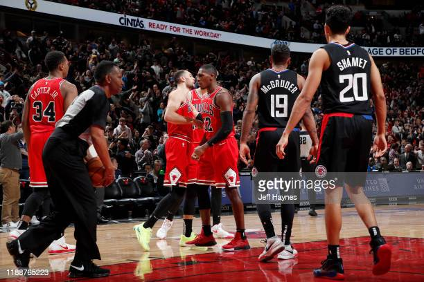 Zach LaVine of the Chicago Bulls reacts to a play against the LA Clippers on December 14 2019 at United Center in Chicago Illinois NOTE TO USER User...