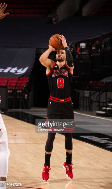 Zach LaVine of the Chicago Bulls shoots a three point basket during the game against the Portland Trail Blazers on January 6 , 2021 at the Moda...