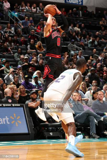 Zach LaVine of the Chicago Bulls shoots the game winning shot against the Charlotte Hornets on November 23, 2019 at Spectrum Center in Charlotte,...