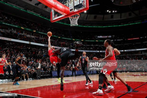 Zach LaVine of the Chicago Bulls shoots the gamewinning shot against the LA Clippers on December 14 2019 at United Center in Chicago Illinois NOTE TO...