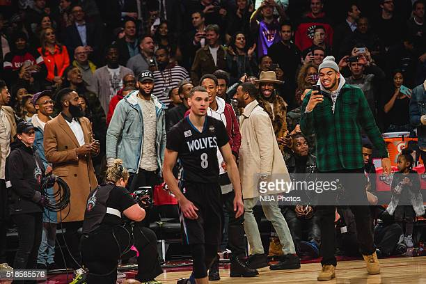 Zach LaVine of the Minnesota Timberwolves celebrates during the Verizon Slam Dunk Contest during State Farm AllStar Saturday Night as part of the...
