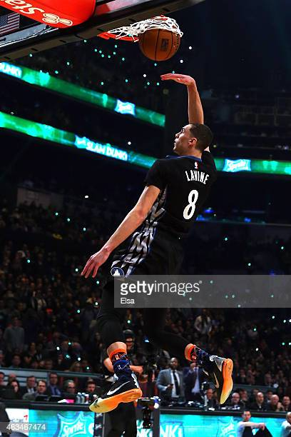 Zach LaVine of the Minnesota Timberwolves competes during the Sprite Slam Dunk Contest as part of the 2015 NBA Allstar Weekend at Barclays Center on...