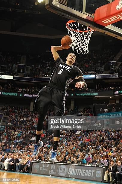 Zach LaVine of the Minnesota Timberwolves dunks against the Charlotte Hornets during the game at the Time Warner Cable Arena on March 07 2016 in...