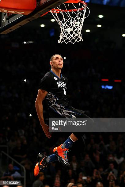Zach LaVine of the Minnesota Timberwolves dunks in the Verizon Slam Dunk Contest during NBA All-Star Weekend 2016 at Air Canada Centre on February...