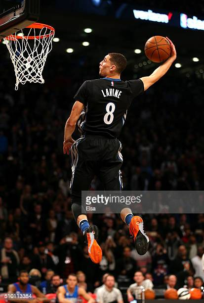 Zach LaVine of the Minnesota Timberwolves dunks in the Verizon Slam Dunk Contest during NBA AllStar Weekend 2016 at Air Canada Centre on February 13...