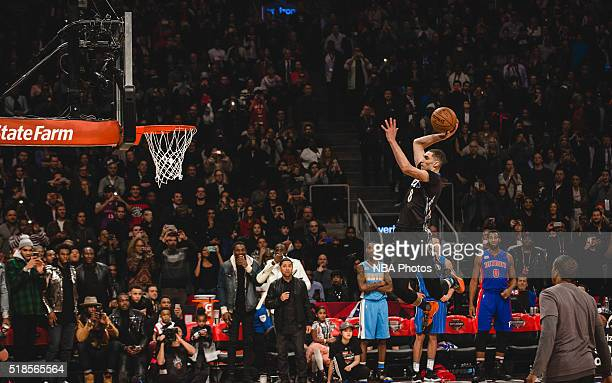 Zach LaVine of the Minnesota Timberwolves dunks the ball during the Verizon Slam Dunk Contest during State Farm AllStar Saturday Night as part of the...