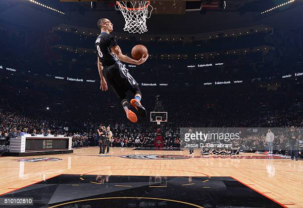 Zach LaVine of the Minnesota Timberwolves goes up for the dunk during the Verizon Slam Dunk Contest as part of the 2016 NBA All Star Weekend on...