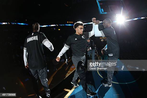 Zach LaVine of the Minnesota Timberwolves is introduced before facing off against the Oklahoma City Thunder during a preseason game on October 7 2015...
