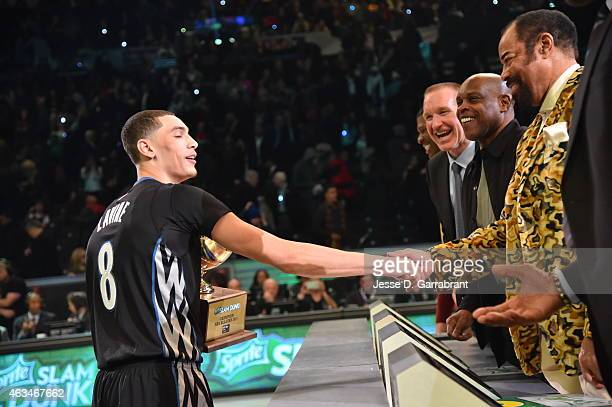 Zach LaVine of the Minnesota Timberwolves is wins the 2015 Sprite Slam Dunk Contest on State Farm AllStar Saturday Night as part of the 2015 AllStar...
