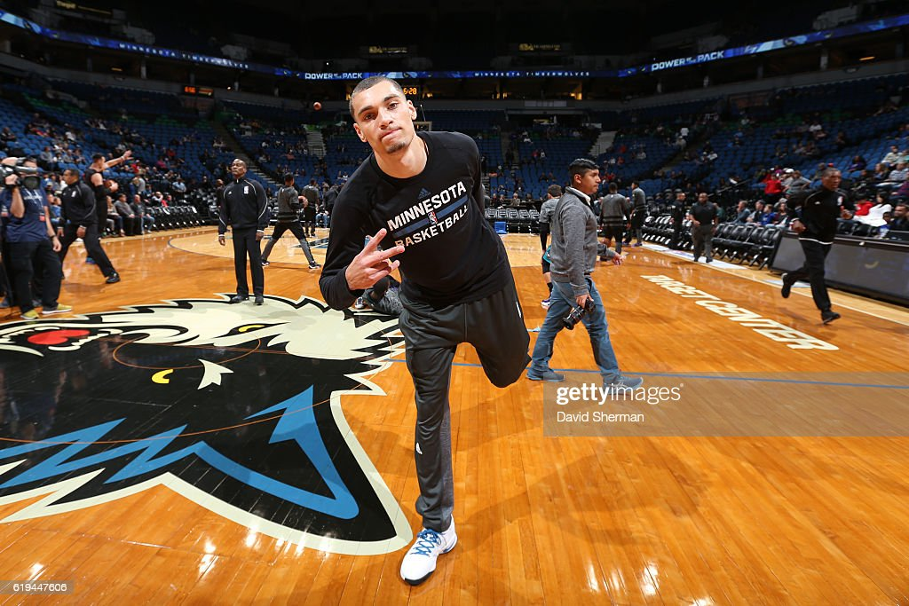 Zach LaVine #8 of the Minnesota Timberwolves poses for a photo before an NBA preseason game against the Charlotte Hornets on October 21, 2016 at the Target Center in Minneapolis, Minnesota.