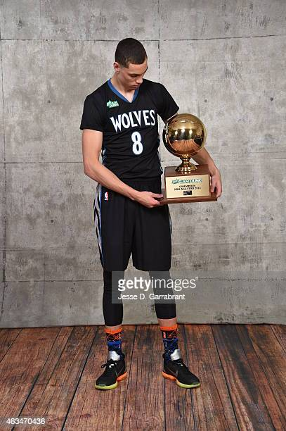 Zach LaVine of the Minnesota Timberwolves poses with his trophy after winning the Sprite Slam Dunk Contest on State Farm AllStar Saturday Night as...