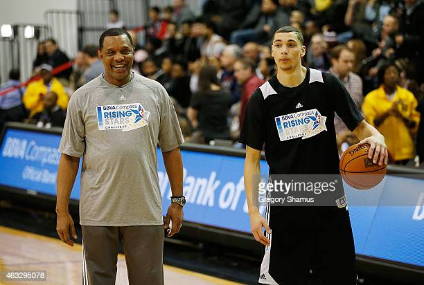 Zach LaVine of the Minnesota Timberwolves talks with head coach Alvin Gentry during the BBVA Compass Rising Stars Practice at NBA House presented by...