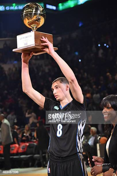 Zach LaVine of the Minnesota Timberwolves wins the 2015 Sprite Slam Dunk Contest on State Farm AllStar Saturday Night as part of the 2015 AllStar...