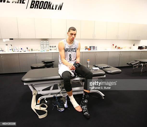Zach LaVine of the US Team prior to playing a game against the World Team during the BBVA Compass Rising Stars Challenge as part of 2015 AllStar...