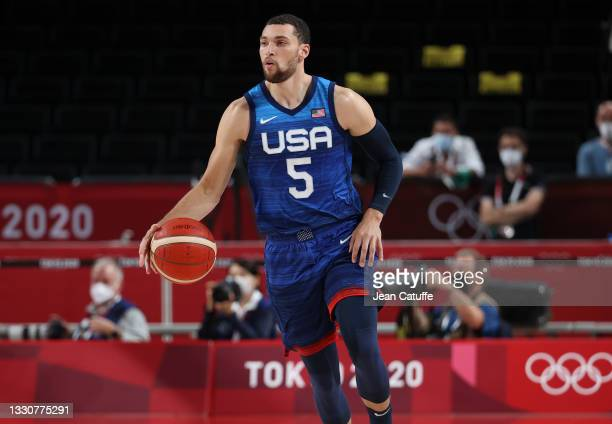 Zach Lavine of USA during the Men's Preliminary Round Group B basketball game between United States and France on day two of the Tokyo 2020 Olympic...