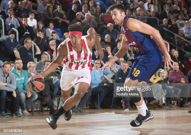Zach Leday #32 of Olympiacos Piraeus in action during the 2018/2019 Turkish Airlines EuroLeague Regular Season Round 13 game between FC Barcelona...