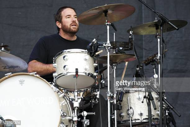Zach Lind of Jimmy Eat World performs on stage during day three of Leeds Festival at Bramham Park on August 28 2011 in Leeds United Kingdom