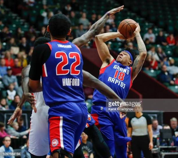 Zach Lofton of the Grand Rapids Drive shoots against the Westchester Knicks during the first half of an NBA GLeague game on February 1 2019 at...