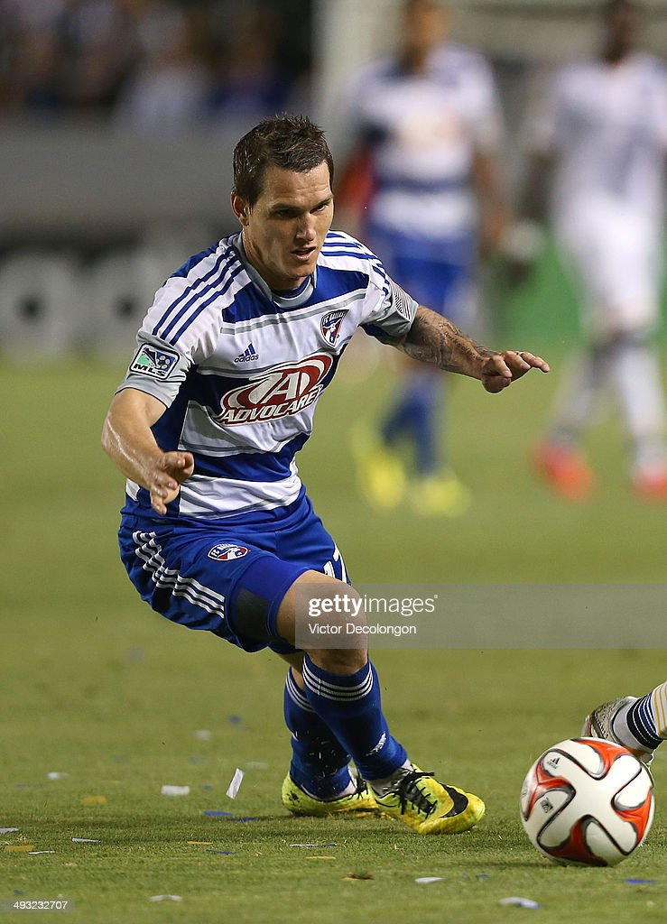Zach Loyd #17 of FC Dallas pursues the play in the second half during the MLS match against the Los Angeles Galaxy at StubHub Center on May 21, 2014 in Los Angeles, California. The Galaxy defeated FC Dallas 2-1.