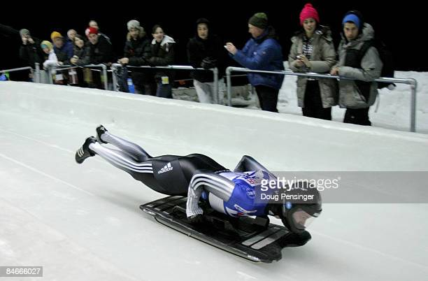 Zach Lund of the United States takes his first run in the men's skeleton competition at the Bobsleigh and Skeleton World Cup at the Whistler Sliding...