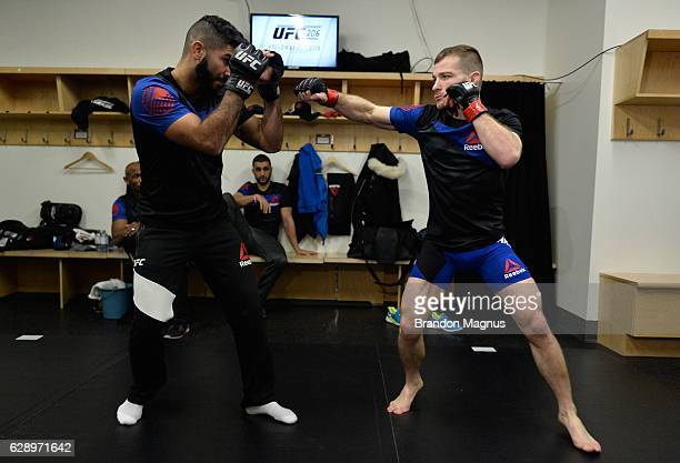 Zach Makovsky warms up backstage during the UFC 206 event inside the Air Canada Centre on December 10, 2016 in Toronto, Ontario, Canada.