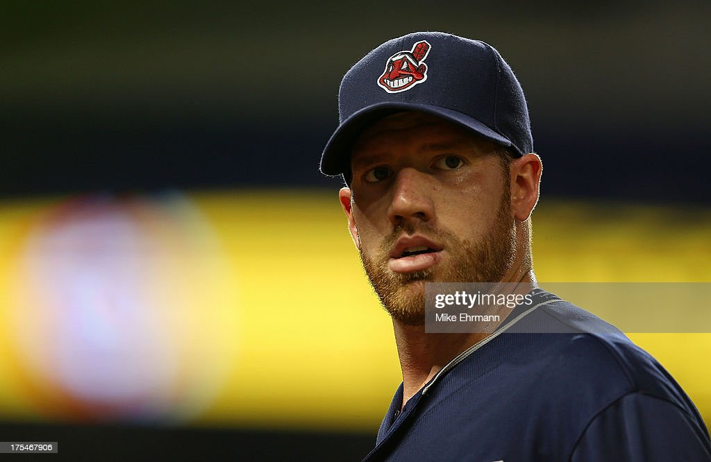 Zach McAllister #34 of the Cleveland Indians looks on during a game against the Miami Marlins at Marlins Park on August 3, 2013 in Miami, Florida.