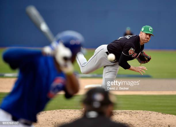 Zach McAllister of the Cleveland Indians pitches against the Chicago Cubs during an exhibition game at Cashman Field on March 17 2018 in Las Vegas...