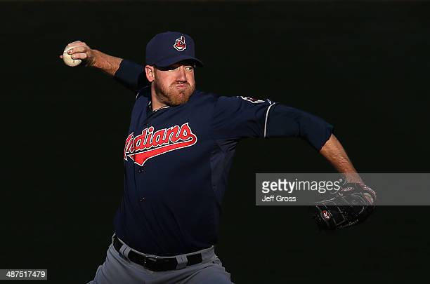 Zach McAllister of the Cleveland Indians pitches against the Los Angeles Angels of Anaheim in the fourth inning at Angel Stadium of Anaheim on April...