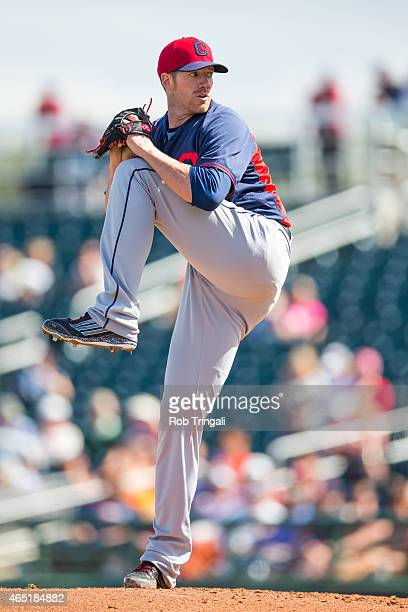 Zach McAllister of the Cleveland Indians pitches during a spring training game against the Cincinnati Reds at Goodyear Ballpark on March 3 2015 in...