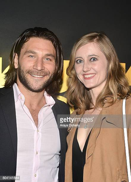 Zach McGowan and Emily Johnson attend the STARZ PreGolden Globe Celebration at Chateau Marmont on January 8 2016 in Los Angeles California