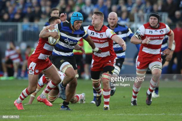 Zach Mercer of Bath breaks with the ball during the Aviva Premiership match between Bath Rugby and Gloucester Rugby at the Recreation Ground on...