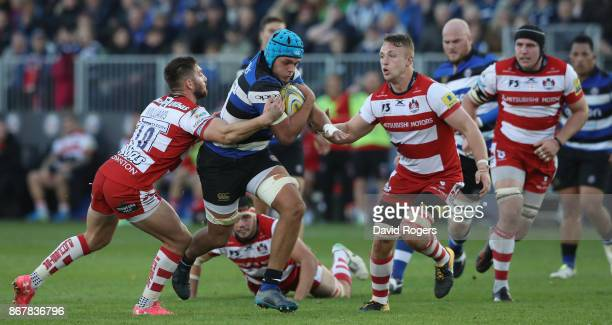 Zach Mercer of Bath charges upfield during the Aviva Premiership match between Bath Rugby and Gloucester Rugby at the Recreation Ground on October 29...