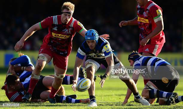 Zach Mercer of Bath Rugby attempts to gather the ball during the Aviva Premiership match between Bath Rugby and Harlequins at the Recreation Ground...