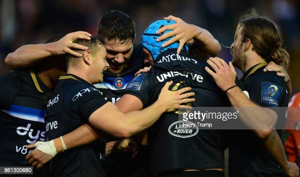 Zach Mercer of Bath Rugby celebrates his sides first try during the European Rugby Champions Cup match between Bath Rugby and Benetton Rugby at...