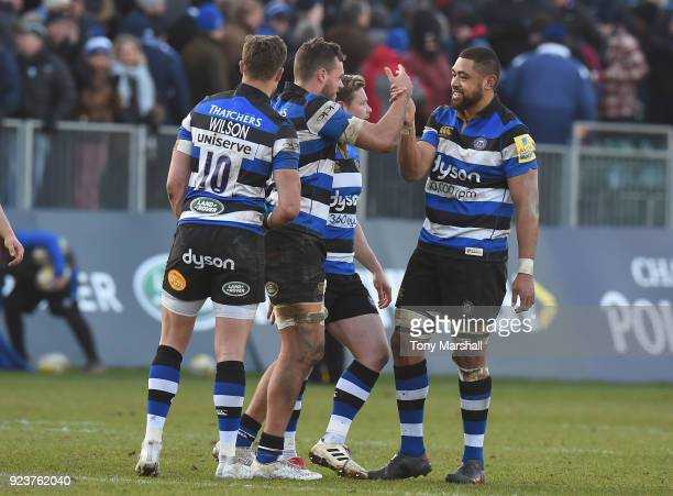 Zach Mercer of Bath Rugby celebrates with Taulupe Faletau of Bath Rugby at the final whistle during the Aviva Premiership match between Bath Rugby...