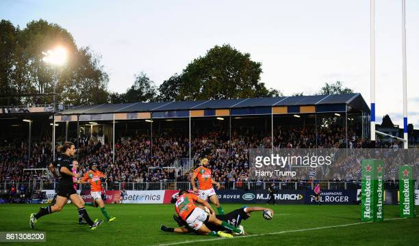 Zach Mercer of Bath Rugby scores his sides first try during the European Rugby Champions Cup match between Bath Rugby and Benetton Rugby at...