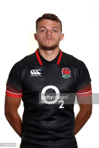Zach Mercer of England poses for a portrait during the England Elite Player Squad Photo call at Pennyhill Park on November 6 2017 in Bagshot England