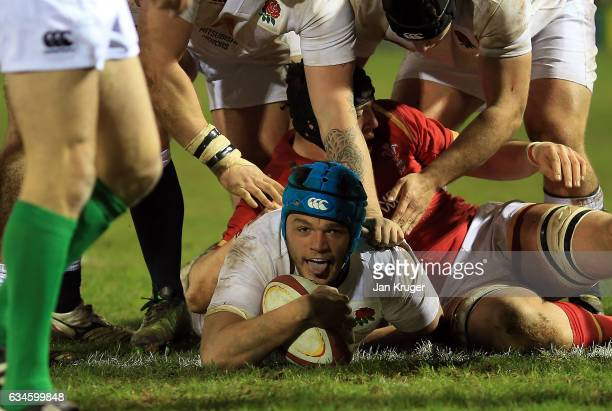 Zach Mercer of England scores a try during the U20 Six Nations match between Wales U20 and England U20 at Eirias Stadium on February 10 2017 in...