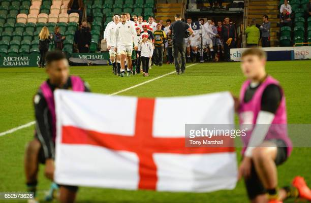 Zach Mercer of England U20 leads out his team during the Under 20s Six Nations Rugby match between England U20 and Scotland U20 at Franklin's Gardens...
