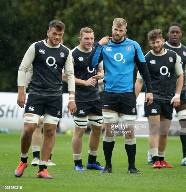 Zach Mercer Sam Underhill George Kruis Alec Hepburn and Maro Itoje look on during the England training session held at Pennyhill Park on November 7...