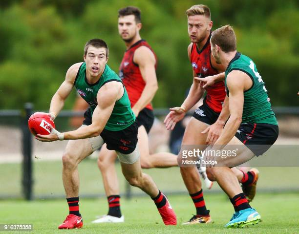 Zach Merrett of the Bombers looks upfield during the Essendon Bombers AFL IntraClub Match at The Hangar on February 10 2018 in Melbourne Australia
